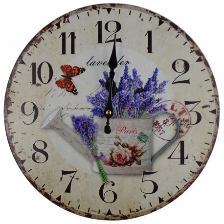 Nástenné hodiny levanduľa v konvičke